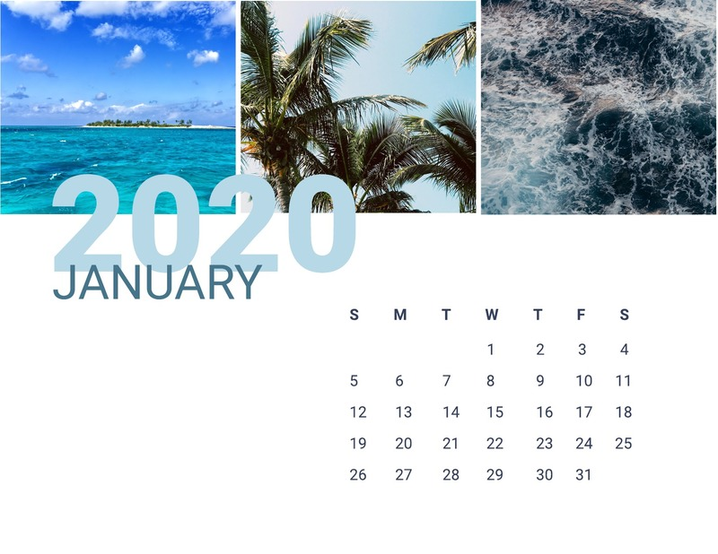 Beach monthly calendar template
