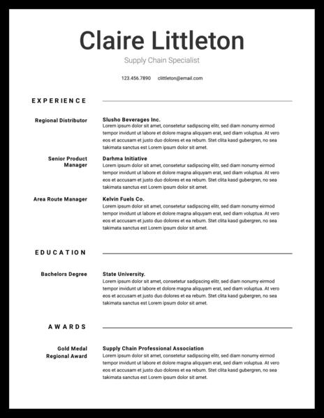 Black & white resume template