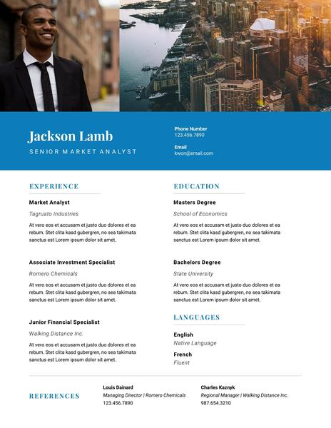 Blue cityscape resume template