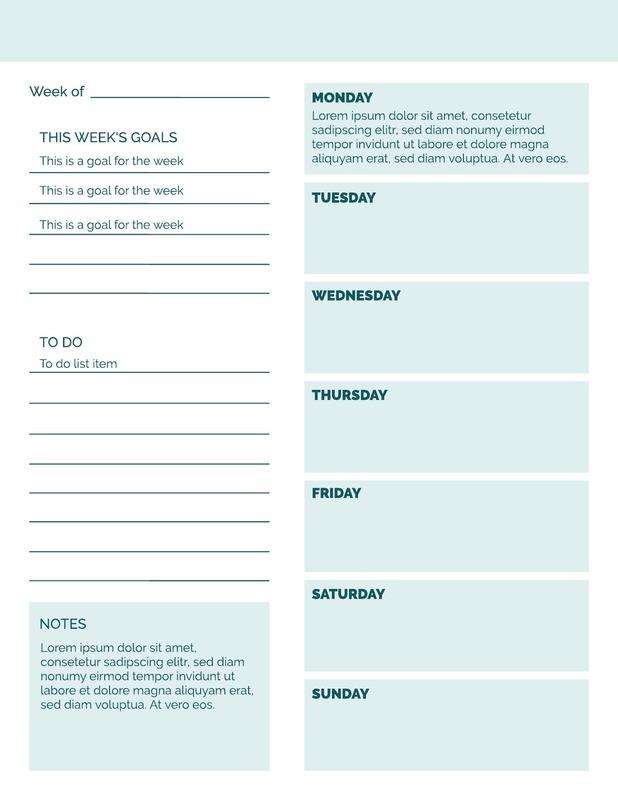 Prehensive Weekly Calendar Template