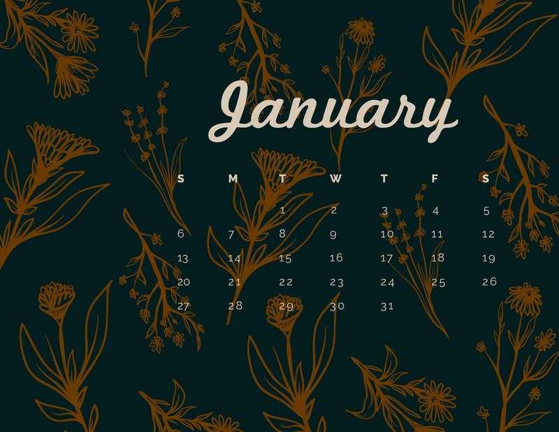 Flower monthly calendar template