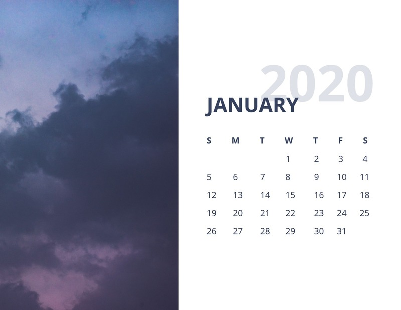 Nature monthly calendar template
