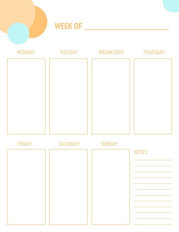 Peach weekly calendar template