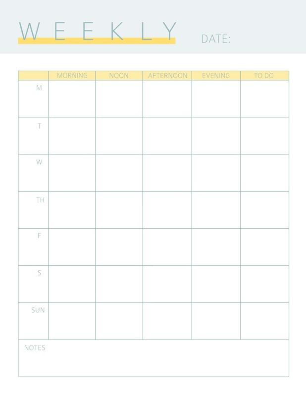 Simple weekly calendar template