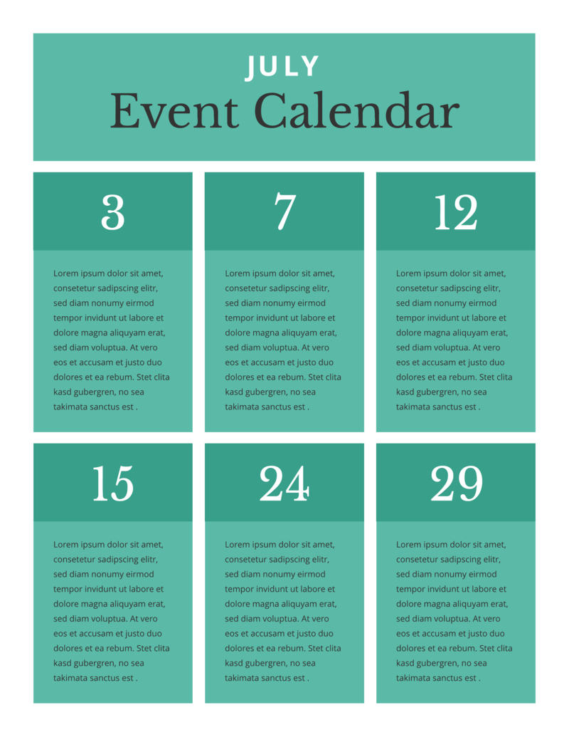 Block event calendar template