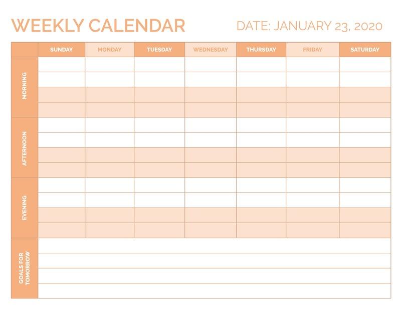 Block weekly calendar template