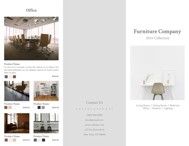 Contemporary Furniture Brochure Template · Brochures ...  Business Pamphlet Templates Free