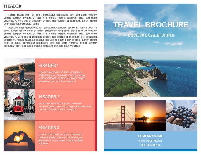 Free bi fold brochure templates examples free templates for Travel brochure templates