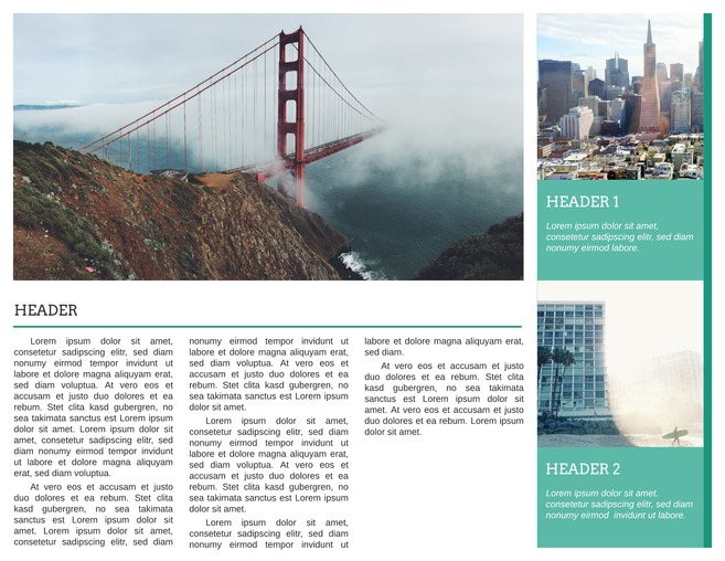 Golden Gate Bi-Fold Travel Brochure Template   Lucidpress