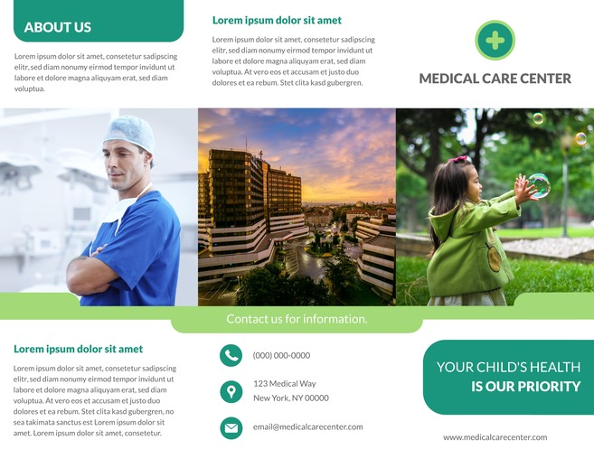 Free Contemporary Medical Tri Fold Brochure Template  Free Tri Fold Brochure Templates Word