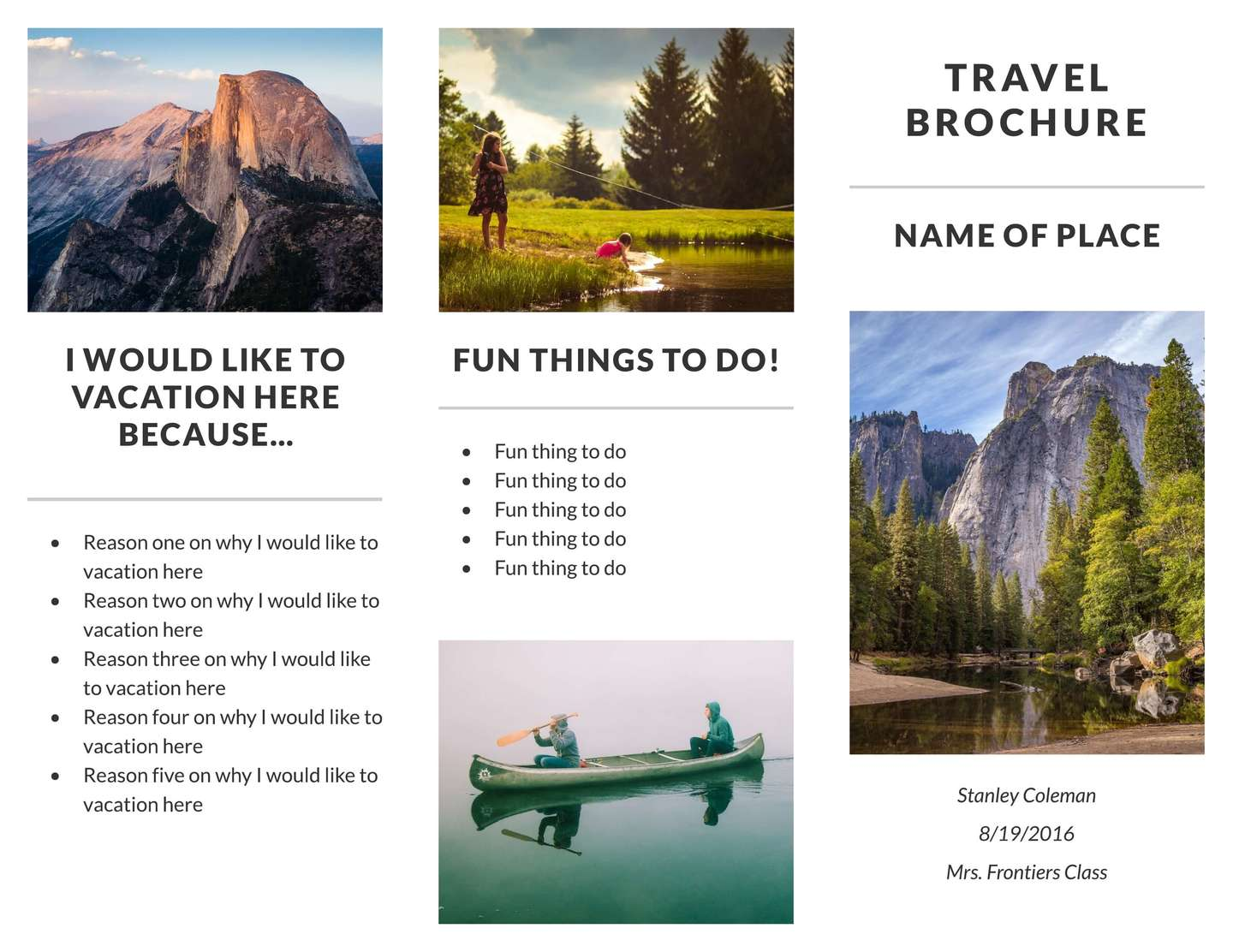 recreation travel brochure template