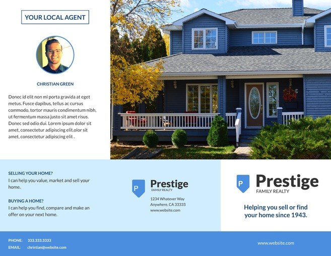 Residential Real Estate Property Tri Fold Brochure Template