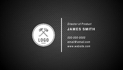 Striped Black Black Business Card Template