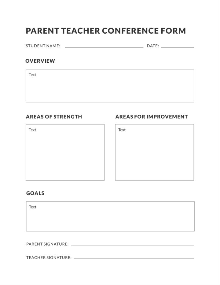 Basic Parent Teacher Conference Education Template