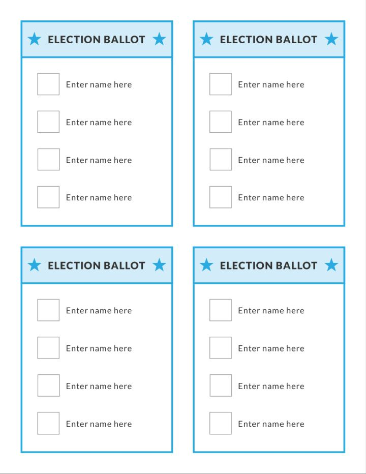 Juicy image with printable voting ballot template