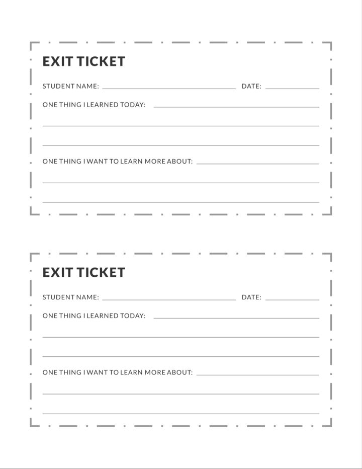 Exit Ticket Education Template