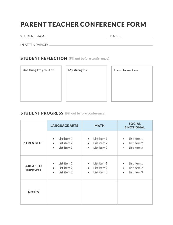 Middle School Parent Teacher Conference Education Template 01