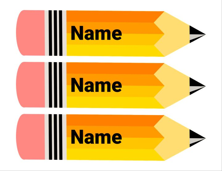 Pencil Name Plates / Cubby Tags Education Template