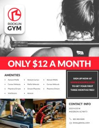 Free printable flyer templates examples 30 free templates gym fitness business flyer template fbccfo Image collections