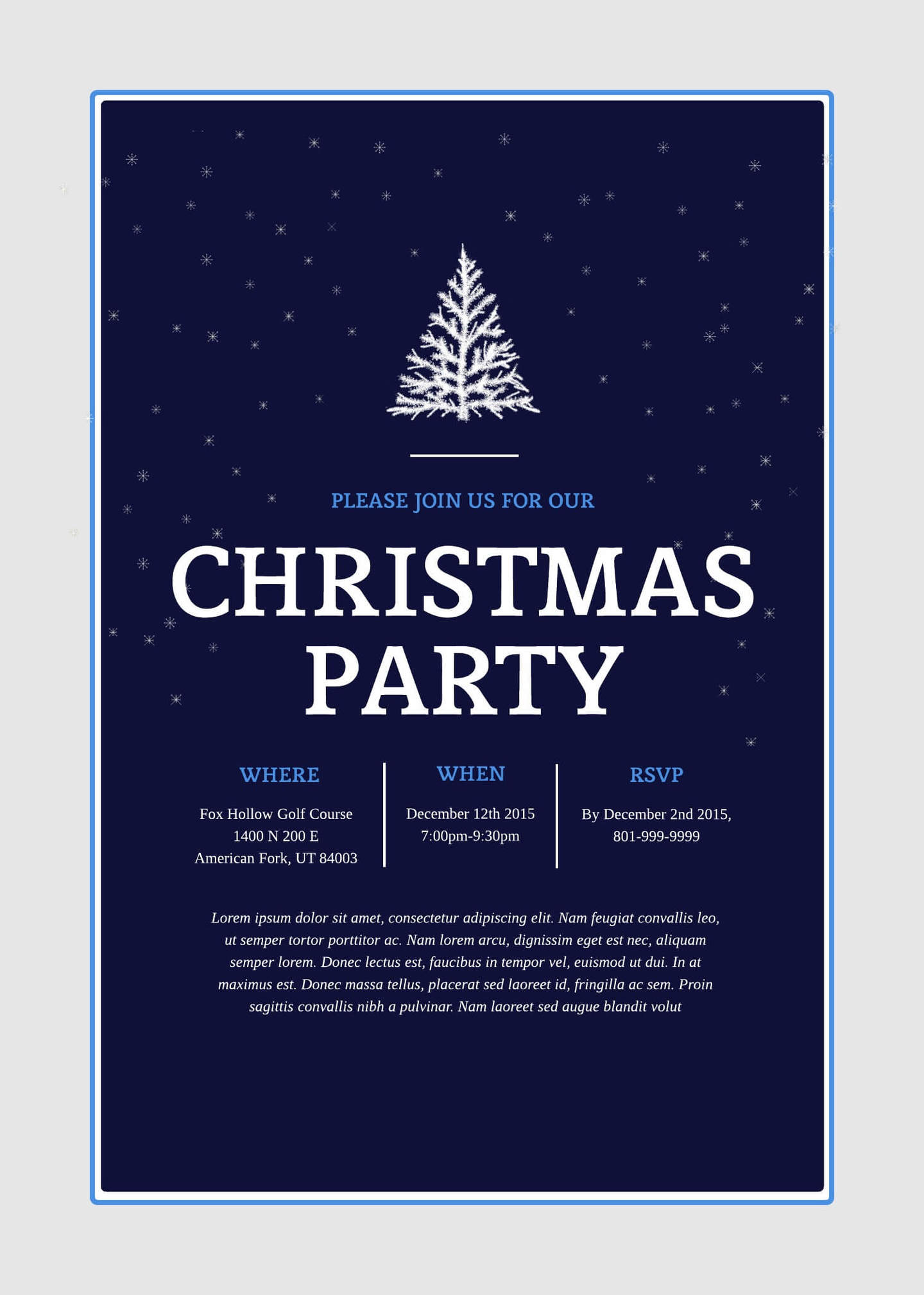 christmas holiday party invitation 5x7