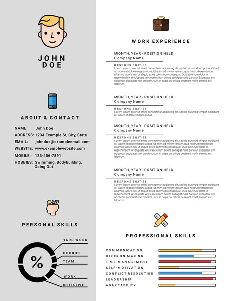 Icon infographic resume