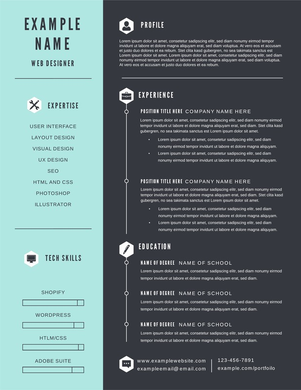 Timeline and infographic resume template