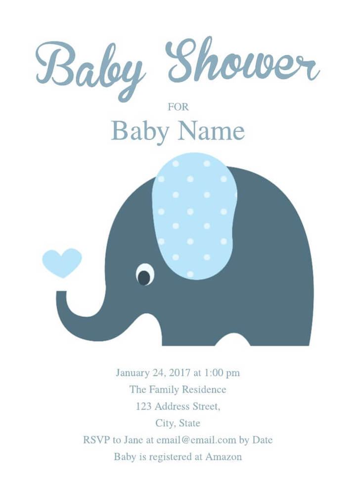 Free Cute Elephant Baby Shower Invitation Template  Free Invitation Templates