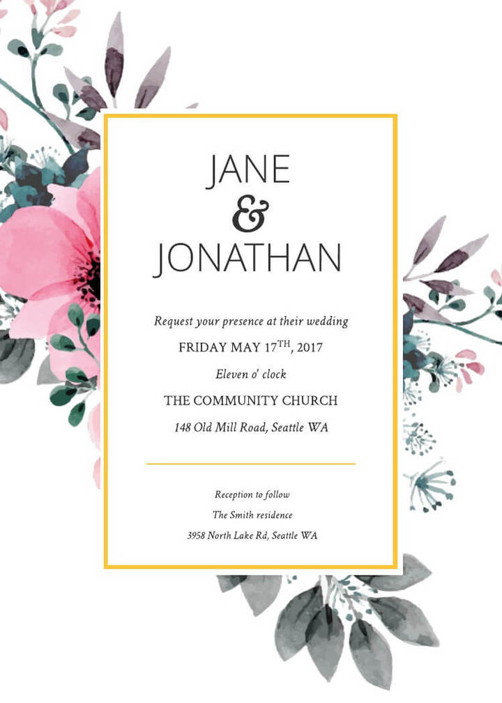 16 free invitation card templates examples lucidpress free floral splash wedding invitation template stopboris Gallery