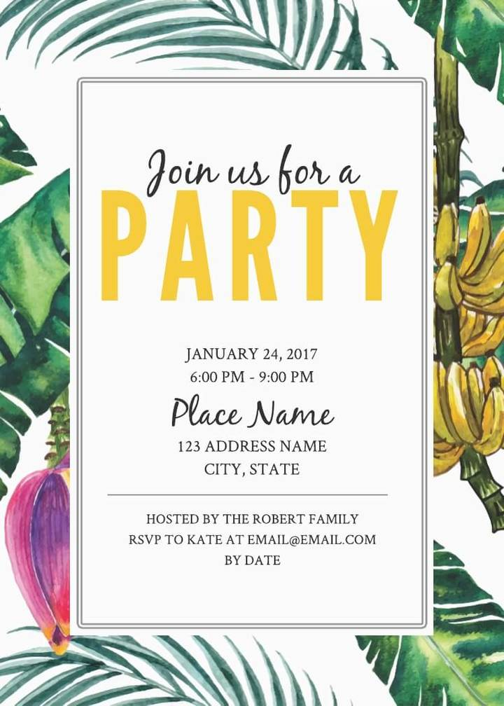 jungle party birthday invitation template
