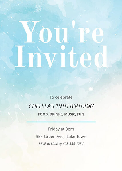 Free Painted Birthday Invitation Template  Invitation Template