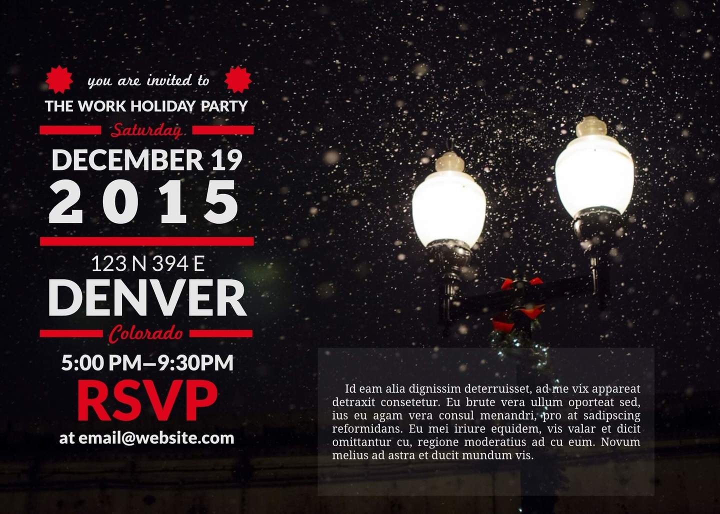 Soiree Holiday Invitation Template  Free Event Invitation Templates