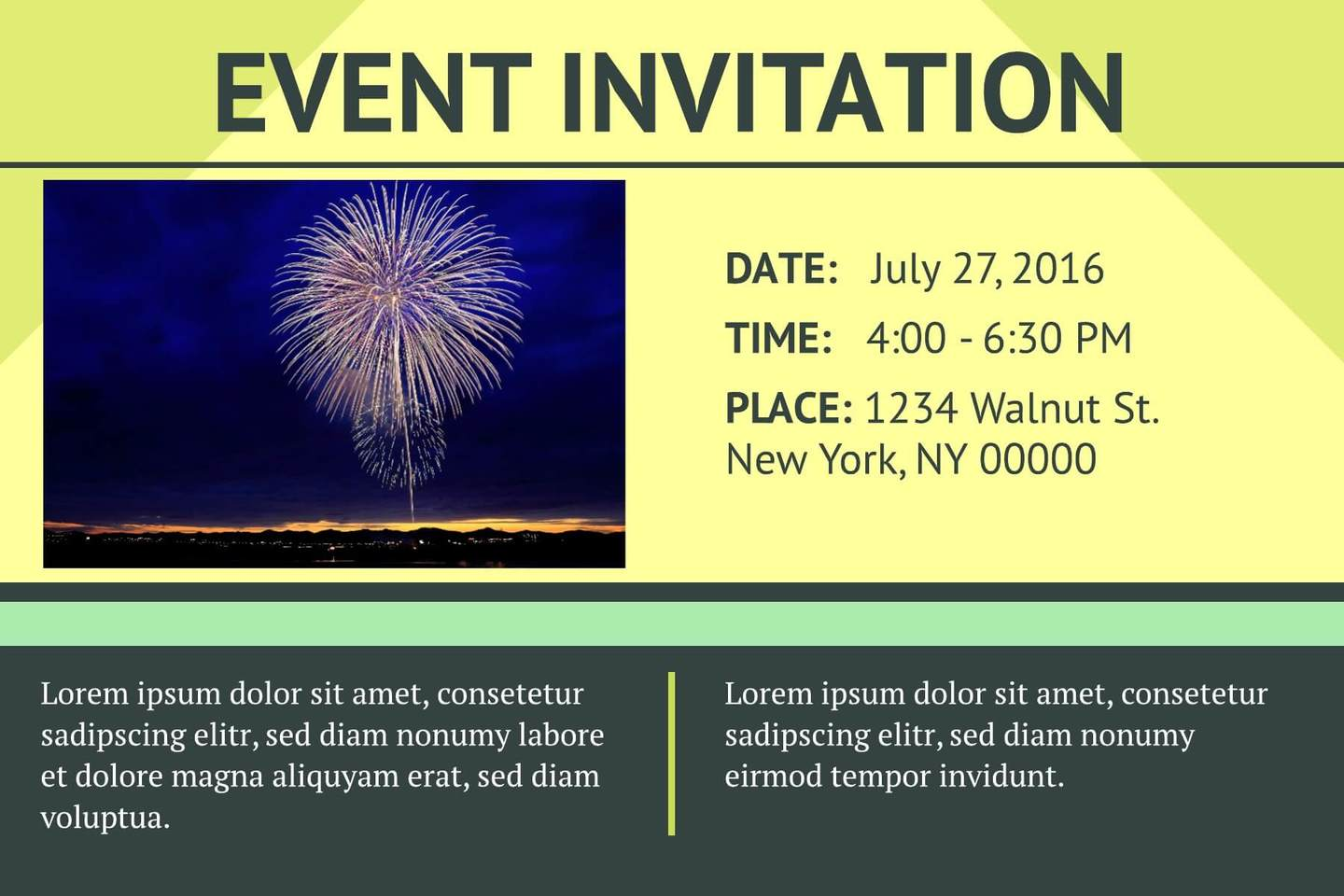 3 Free Event Invitation Templates Examples Lucidpress – Event Invitation Templates