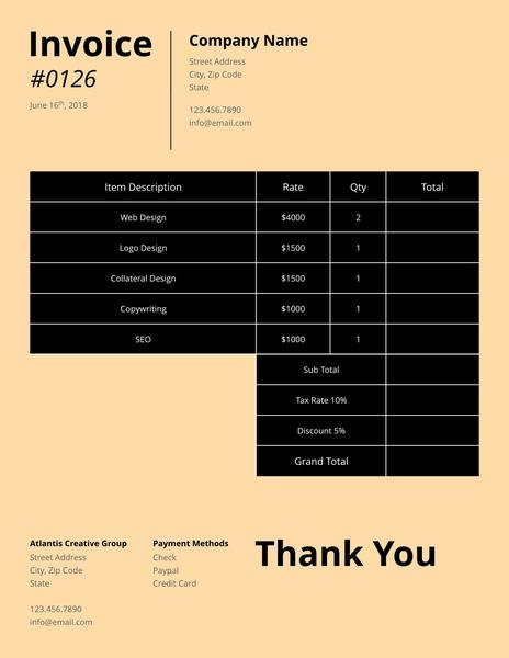 Creative freelance invoice template