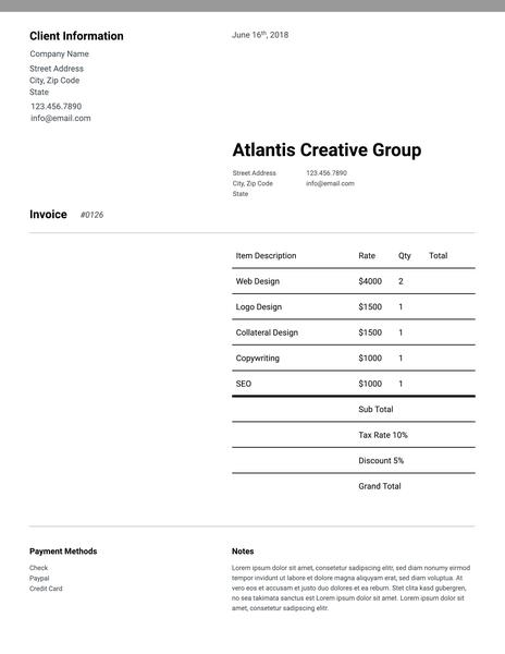 Sparse sales invoice template