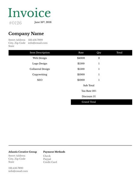 Traditional invoice template