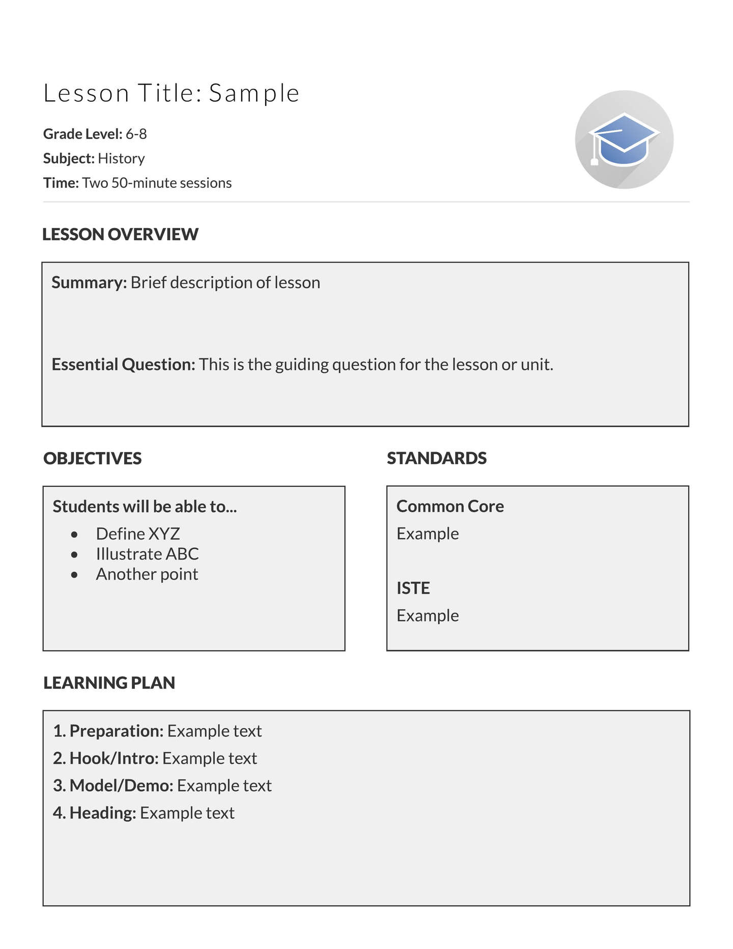 5 free lesson plan templates examples lucidpress for Six point lesson plan template
