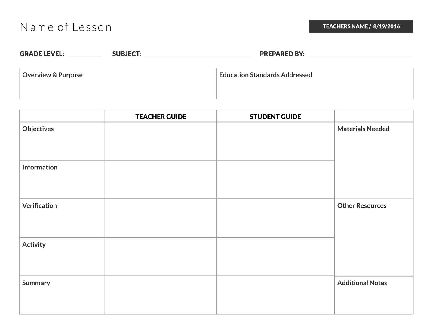 5 free lesson plan templates examples lucidpress for Singapore math lesson plan template