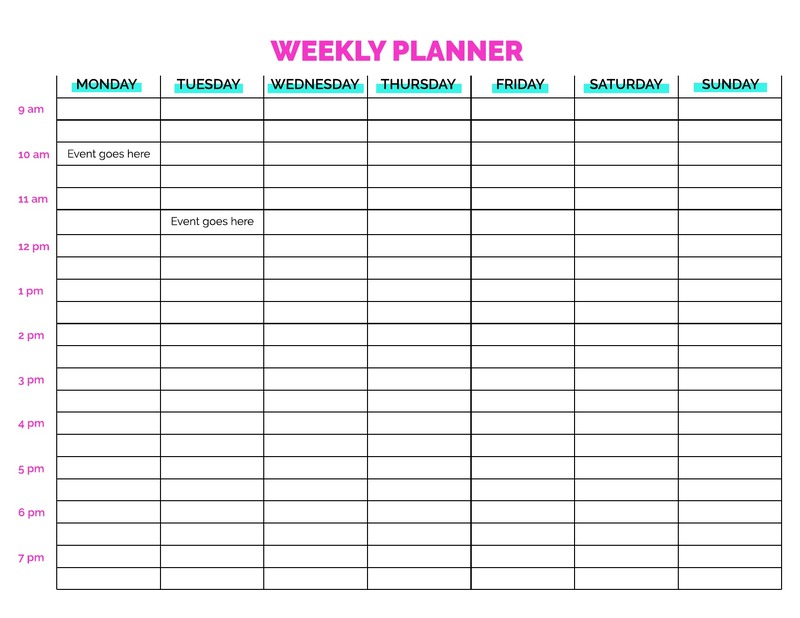Neon weekly planner template