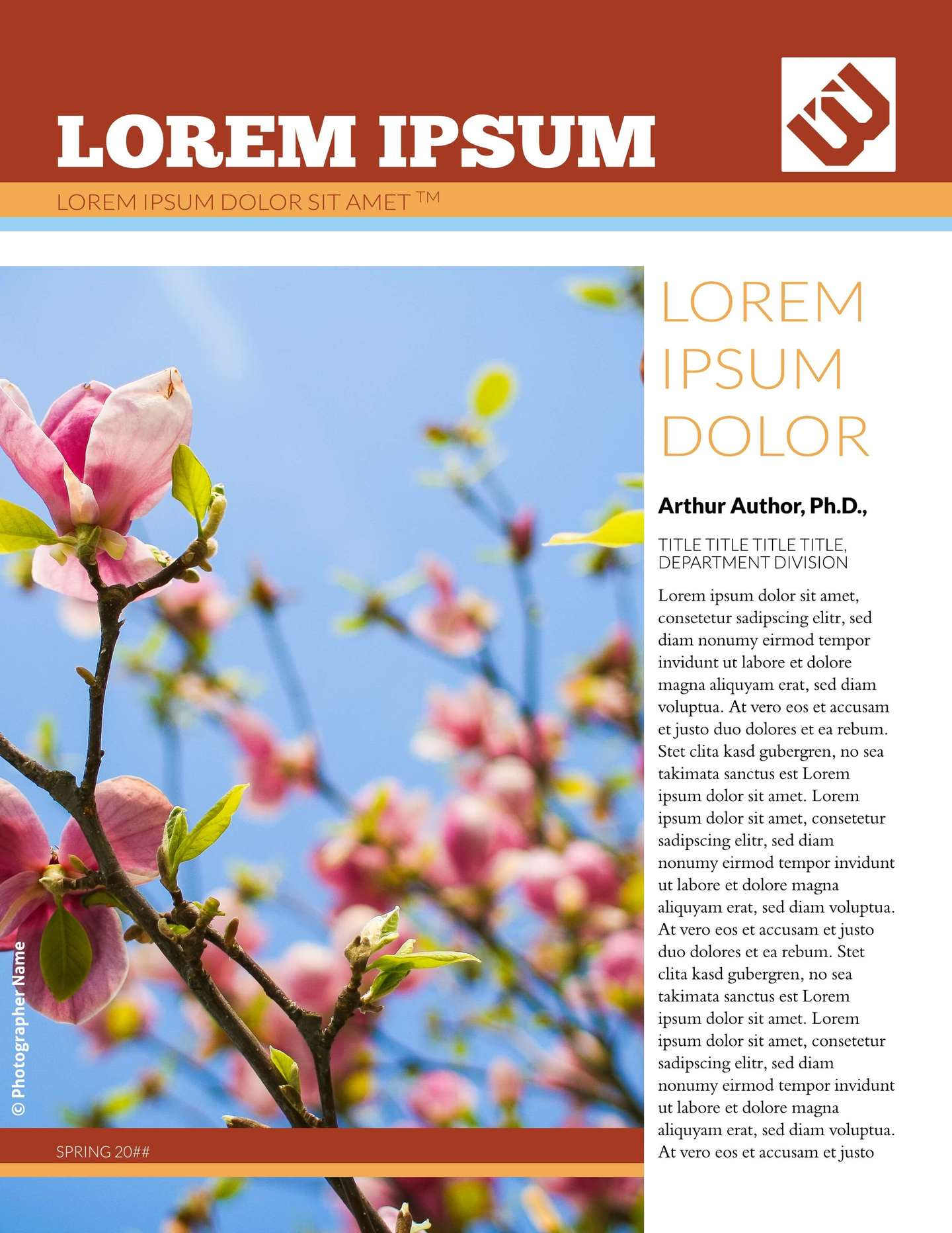 Blossoms School Newsletter Template Education