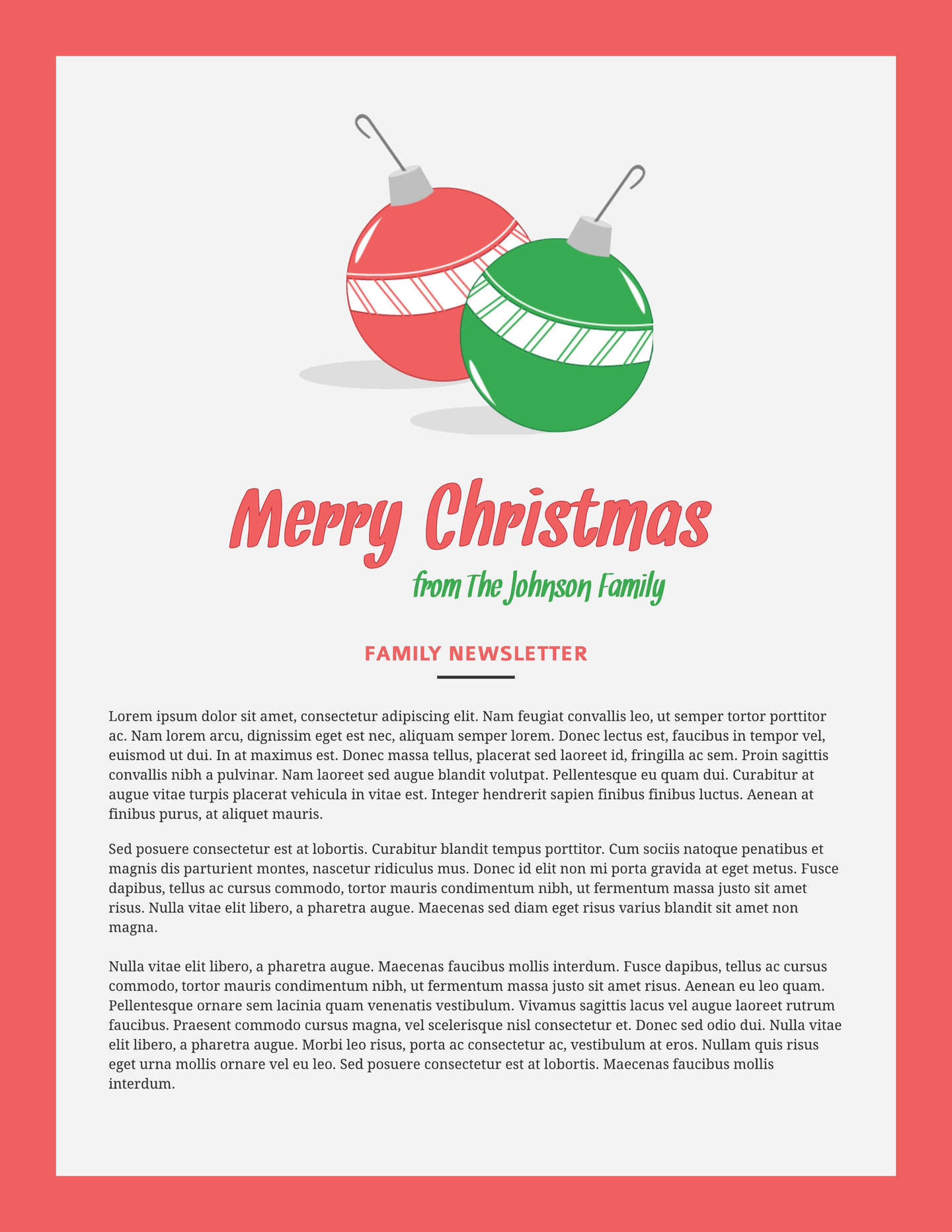 free holiday newsletter templates examples