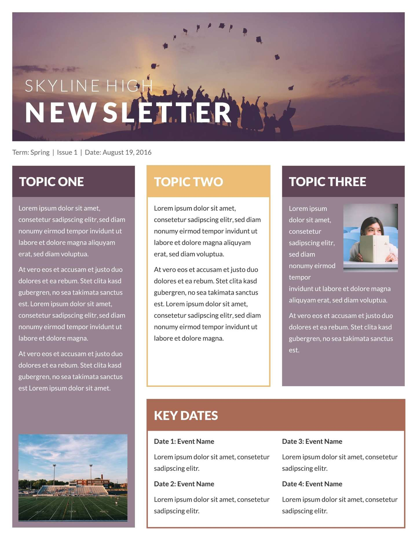 Skyline High Classroom Newsletter Template  Free School Newsletter Templates For Word