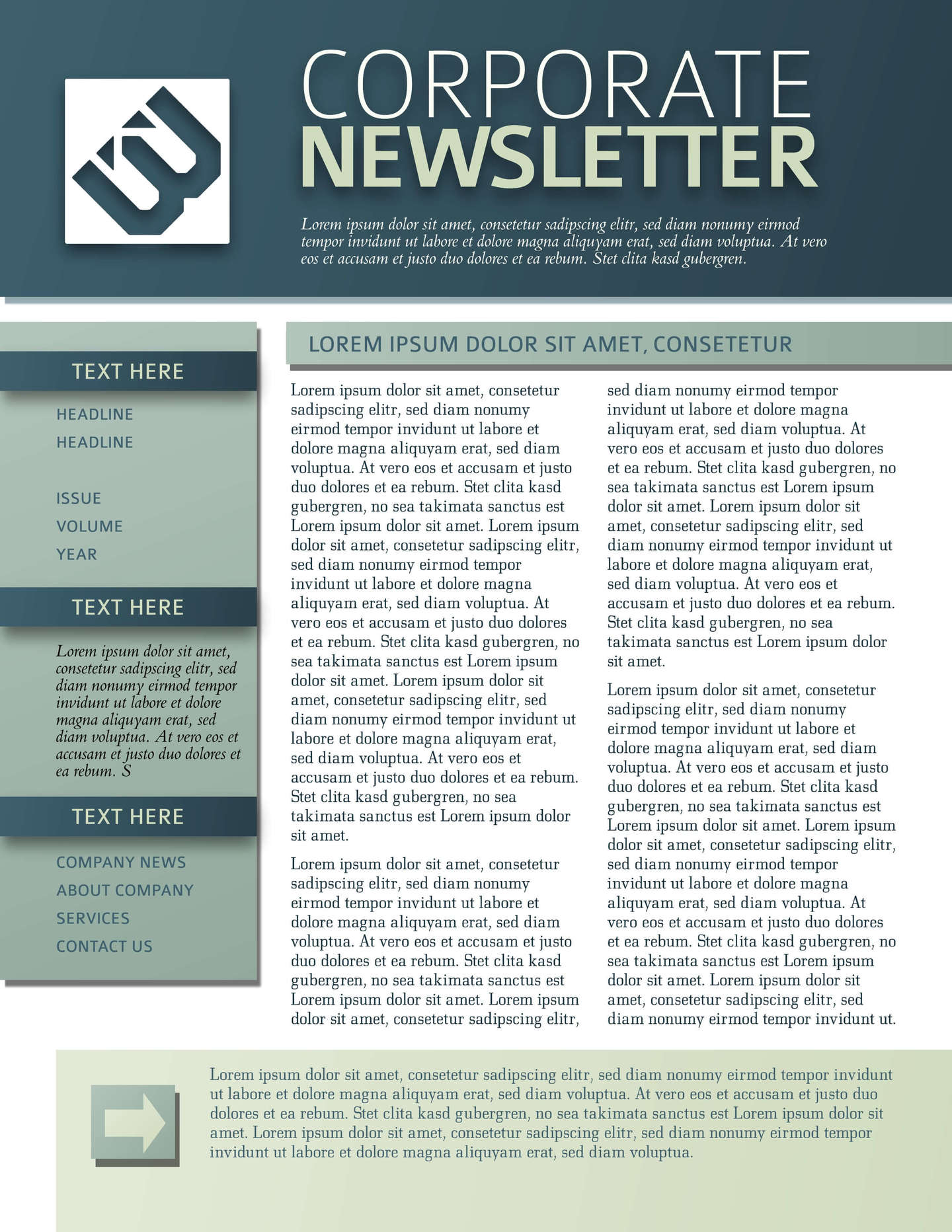 9 Free Business Newsletters Templates Examples – Corporate Newsletter Template