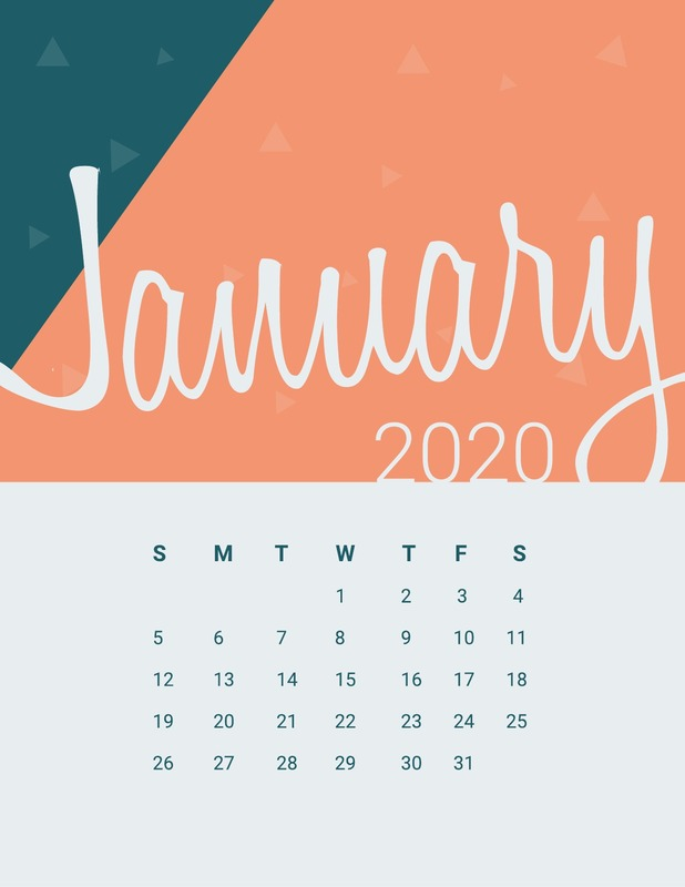 Peachy monthly calendar template