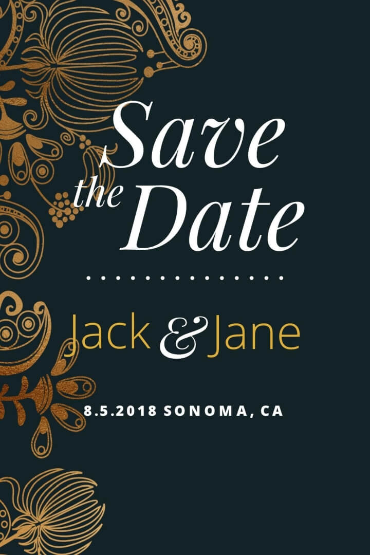 Goldleaf Save-the-Date Postcard Template