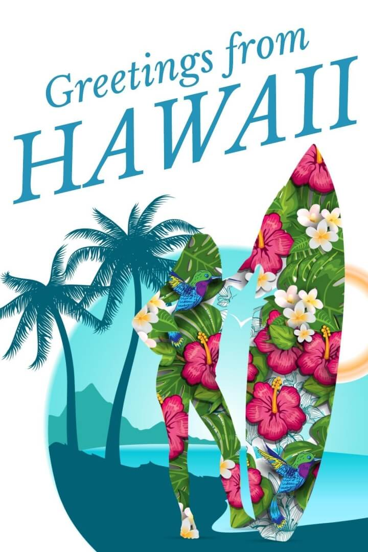 Hawaii Travel Postcard Template