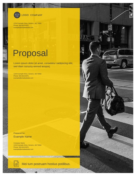 Transparent yellow marketing proposal template