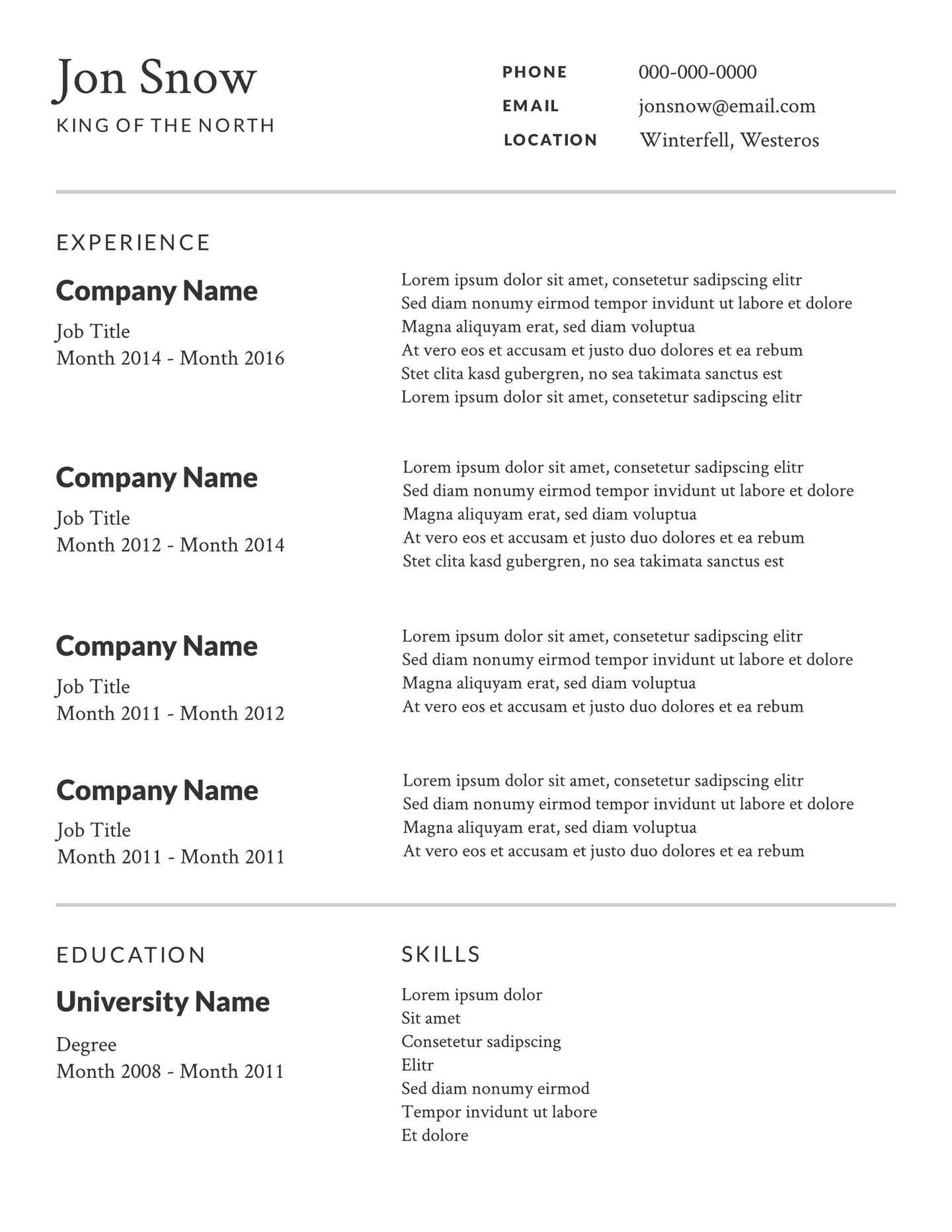 free simple or basic resume templates
