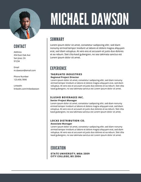 Gray mid-level resume template