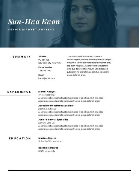 Minimal photo resume template