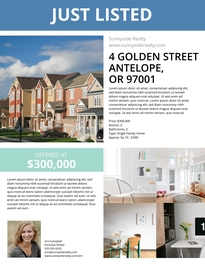 Free Real Estate Flyer Templates Examples Lucidpress - Just listed flyer template